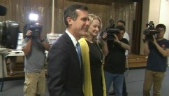 VIDEO: Democrat takes over for outgoing Mayor Antonio Villaraigosa after defeating challenger Wendy Greuel.