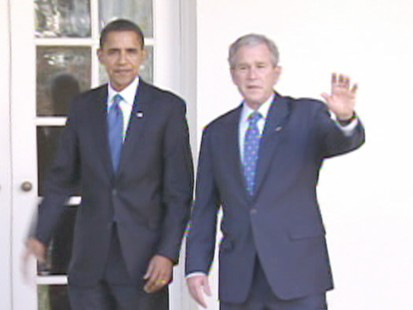 Barack Obamam and George Bush