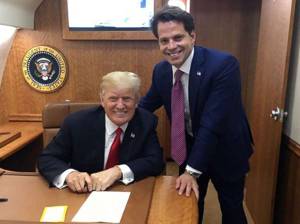 PHOTO: President Donald Trump and Anthony Scaramucci pose for a photo inside Air Force One in a photo posted to Scaramuccis Twitter account on July 24, 2017.
