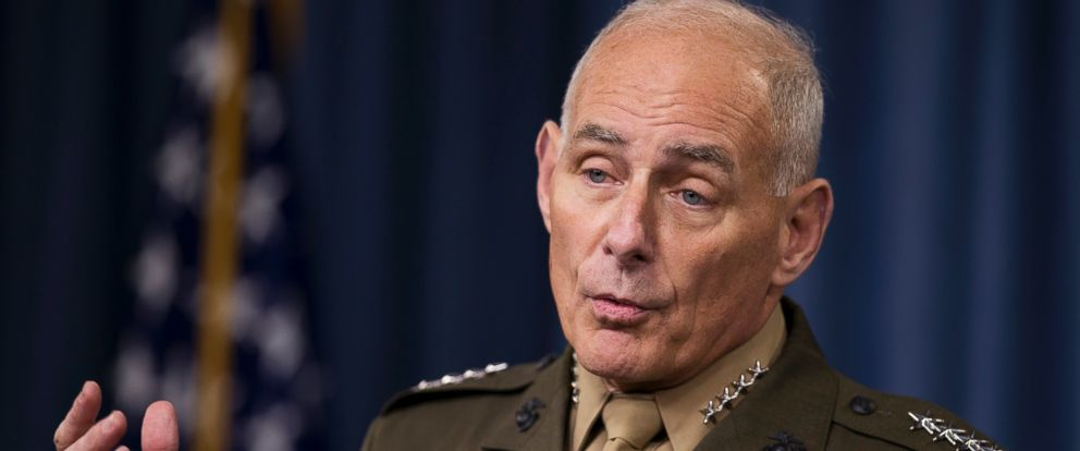 PHOTO: In this photo taken Jan. 8, 2016, Gen. John Kelly speaks to reporters during a briefing at the Pentagon.
