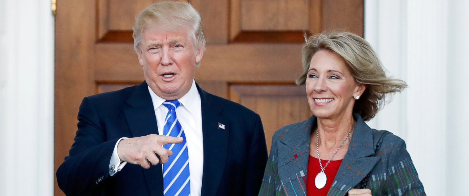 PHOTO: In this Nov. 19, 2016 file photo, President-elect Donald Trump stands with Education Secretary-designate Betsy DeVos in Bedminster, N.J., Nov. 19, 2016.