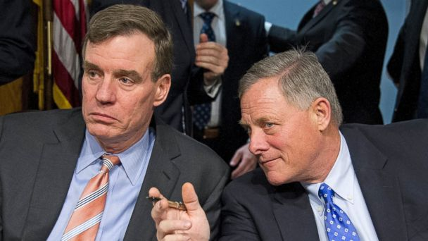 PHOTO: Senators Mark Warner (D-Va.), left, and Richard Burr (R-N.C.), right, at the confirmation hearing on the nomination of Representative Mike Pompeo (R-Kan.) to be Director of the Central Intelligence Agency (CIA) on Capitol Hill, Jan. 12, 2017.