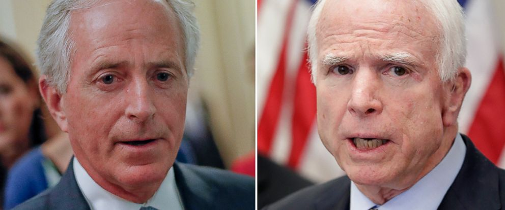 "PHOTO: Sen. Bob Corker, R-Tenn., speaks to members of the media, May 2, 2017, on Capitol Hill.Sen. John McCain, R-Ariz., speaks on April 18, 2017, at a CVS ""MinuteClinic"" in Tempe, Ariz."