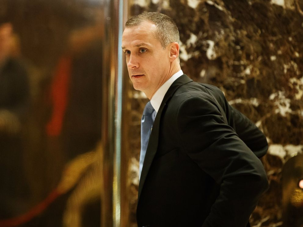 PHOTO: Corey Lewandowski, former campaign manager for President-elect Donald Trump, talks with reporters as he arrives at Trump Tower in New York City, Nov. 29, 2016.