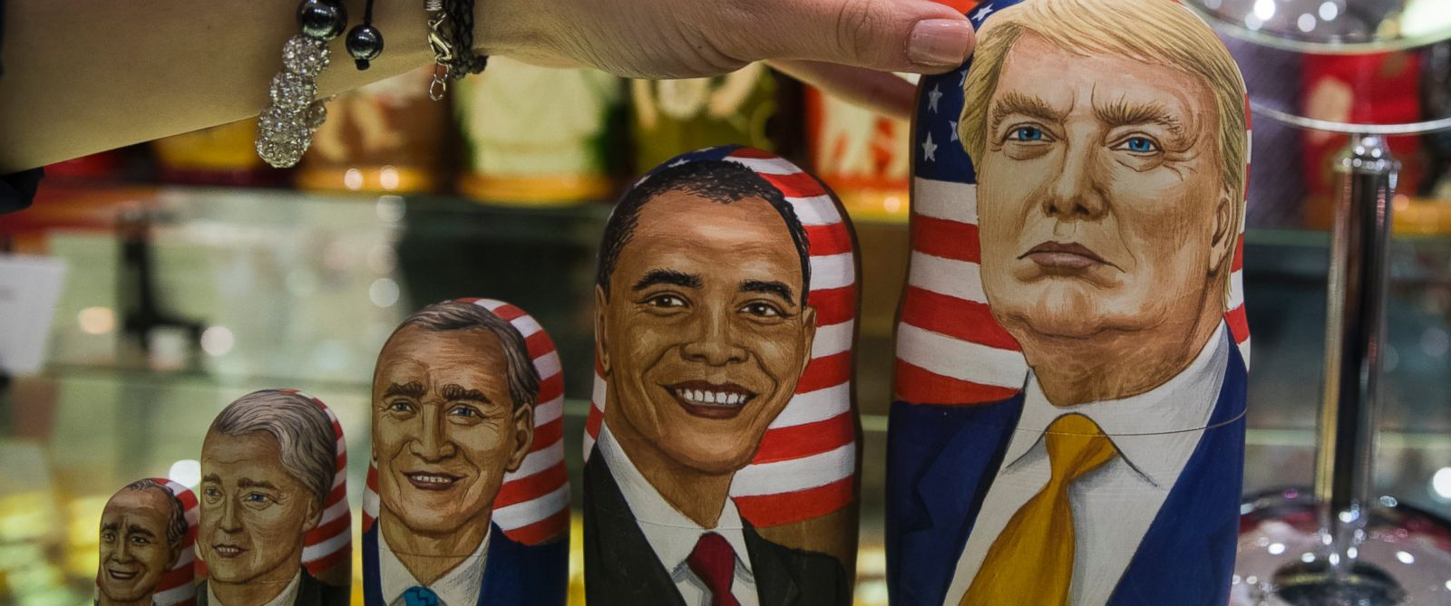 PHOTO: Traditional Russian wooden dolls called Matreska depict U.S. presidents, from left, George H.W. Bush, Bill Clinton, George W. Bush, Barack Obama and presidential candidate Donald Trump displayed in a shop in Moscow, Russia on Nov. 8, 2016.