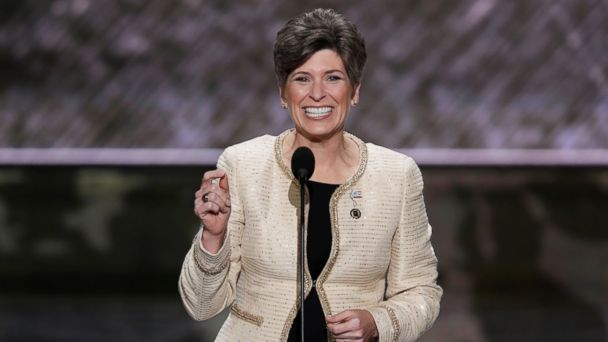 PHOTO: Sen. Joni Ernst, R-Iowa, speaks during the opening day of the Republican National Convention in Cleveland, July 18, 2016.