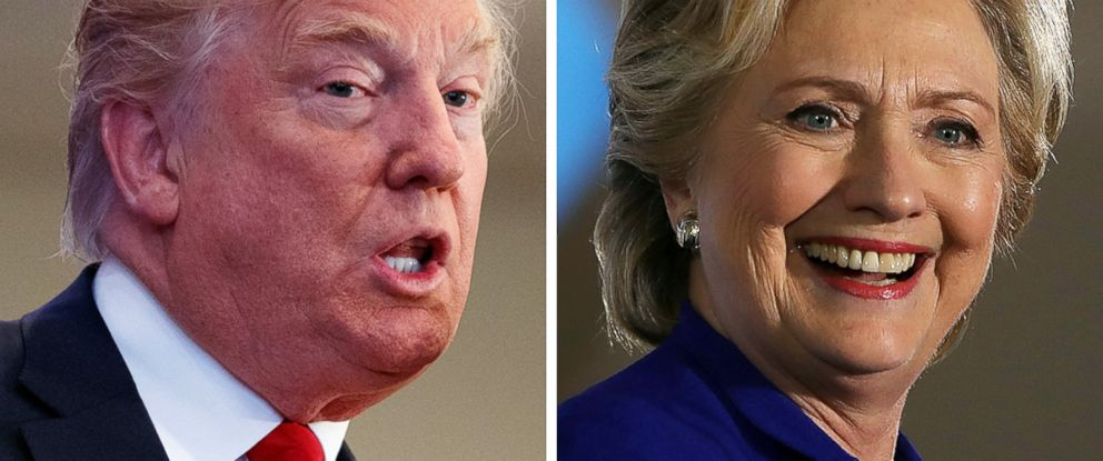 PHOTO: Donald Trump speaks in New Hampshire on Nov. 4, 2016 and Hillary Clinton speaks in Las Vegas on Nov. 2, 2016.