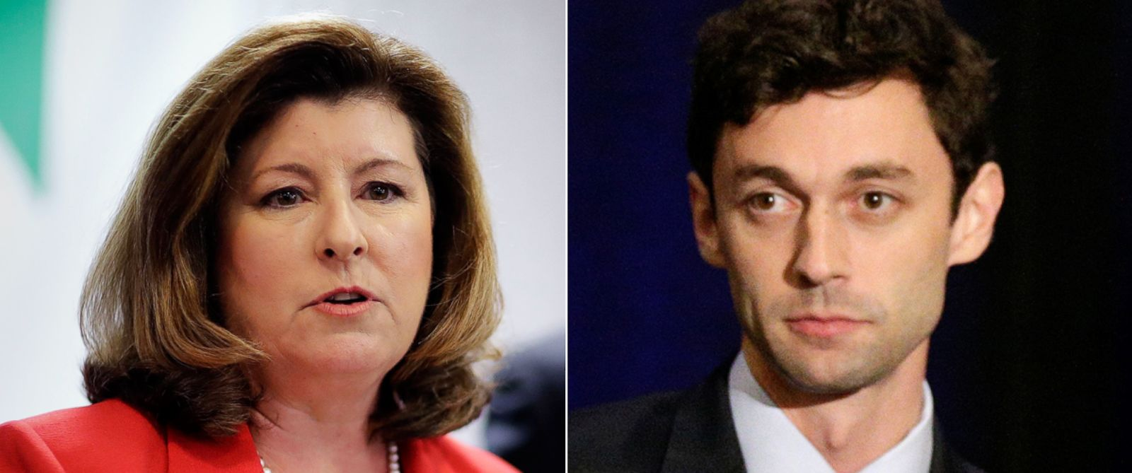 PHOTO: Candidates for Georgias Sixth Congressional seat Karen Handel, left, and Jon Ossoff, right.