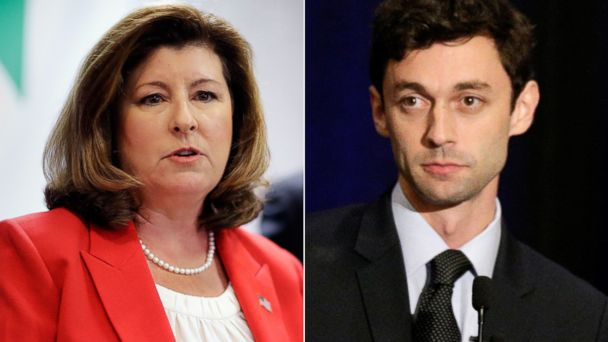 PHOTO: Candidates for Georgia's Sixth Congressional seat Karen Handel, left, and Jon Ossoff, right.