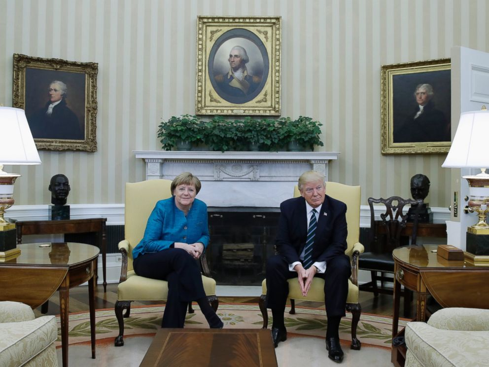 PHOTO: President Donald Trump meets with German Chancellor Angela Merkel in the Oval Office of the White House, March 17, 2017.