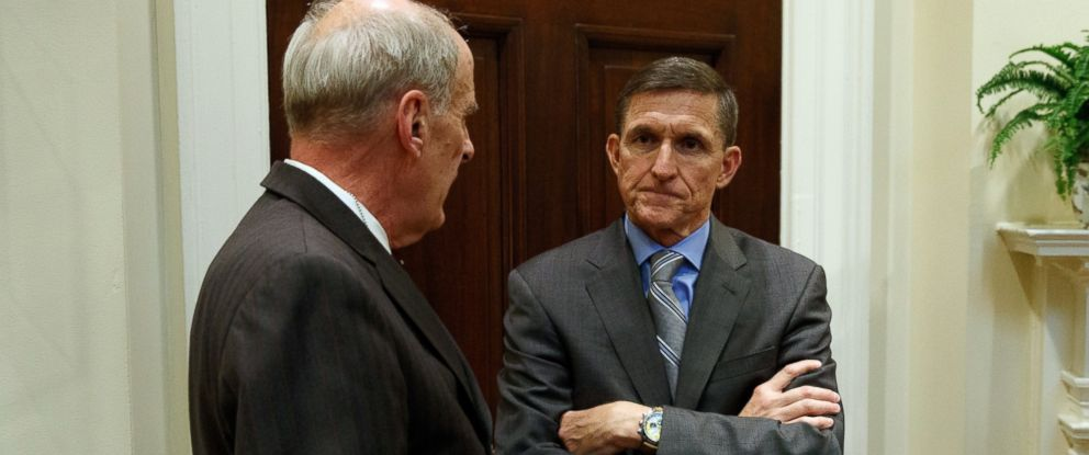 PHOTO: National Security Adviser Mike Flynn, right, talks with Ret. Gen. Keith Alexander in the Roosevelt Room of the White House in Washington, Jan. 31, 2017.