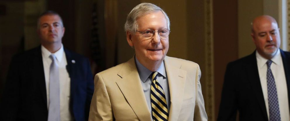 PHOTO: Senate Majority Leader Mitch McConnell of Ky. walks from his office on Capitol Hill in Washington, June 26, 2017.