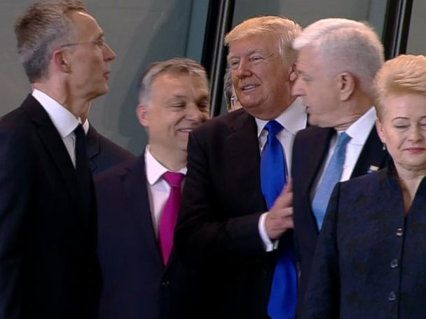 Awkward moment when Trump pushes a prime minister