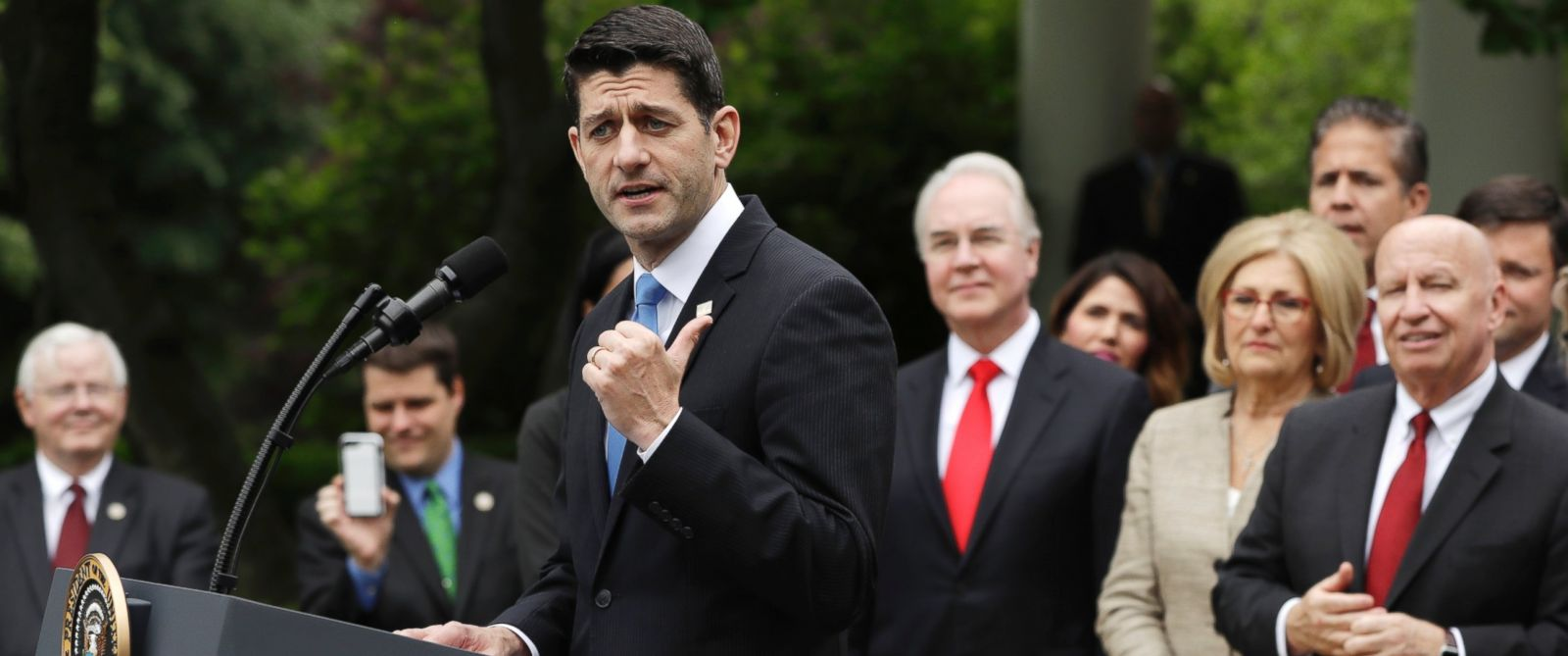 PHOTO: House Speaker Paul Ryan of Wis. speaks in the Rose Garden of the White House in Washington, Thursday, May 4, 2017, after the House pushed through a health care bill.