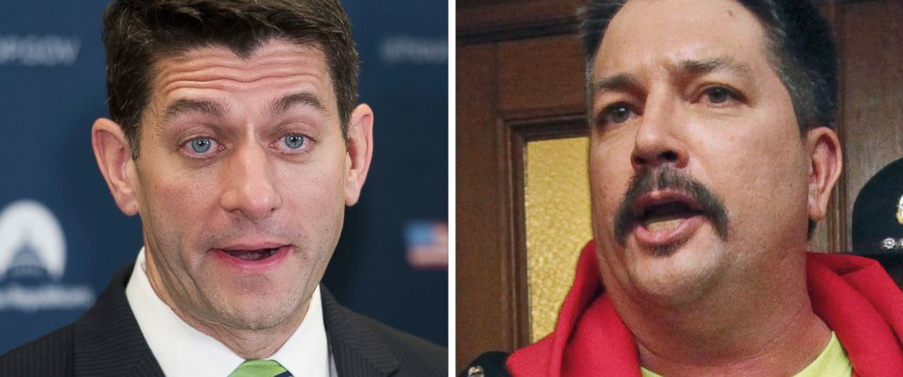 PHOTO: House Speaker Paul Ryan speaks in Washington, May 2, 2017 and Randy Bryce appears at the Wisconsin State Capital on Feb. 24, 2015.