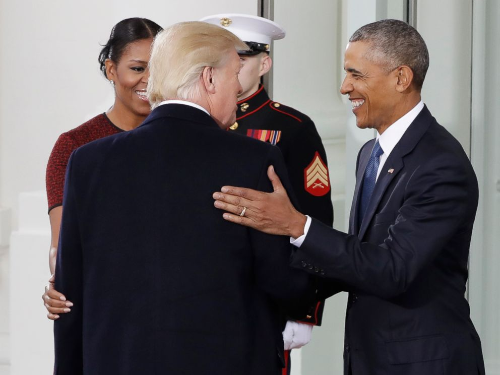 Live donald trump sworn in as 45th president of the united states photo president barack obama and first lady michelle obama greet president elect donald trump m4hsunfo