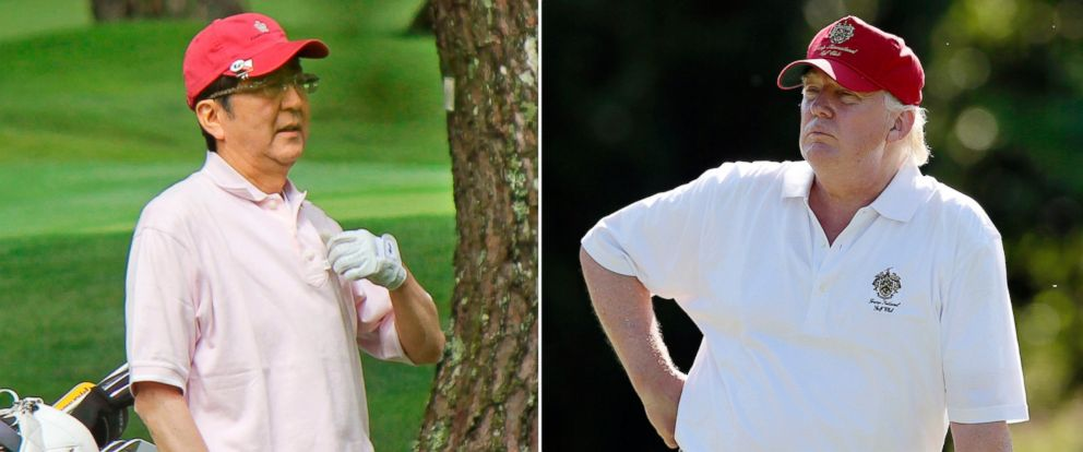 PHOTO: Donald Trump stands during a pro-am round of a golf tournament at Congressional Country Club in Bethesda, Md. on June 27, 2012, and Japanese Prime Minister Shinzo Abe playing golf in Yamanakako village, west of Tokyo, on July 23, 2016.
