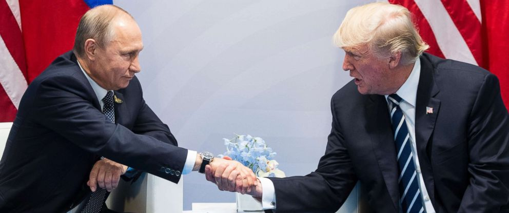 PHOTO: President Donald Trump, right, shakes hands with Russian President Vladimir Putin during the G20 summit in Hamburg, Germany, July 7, 2017.