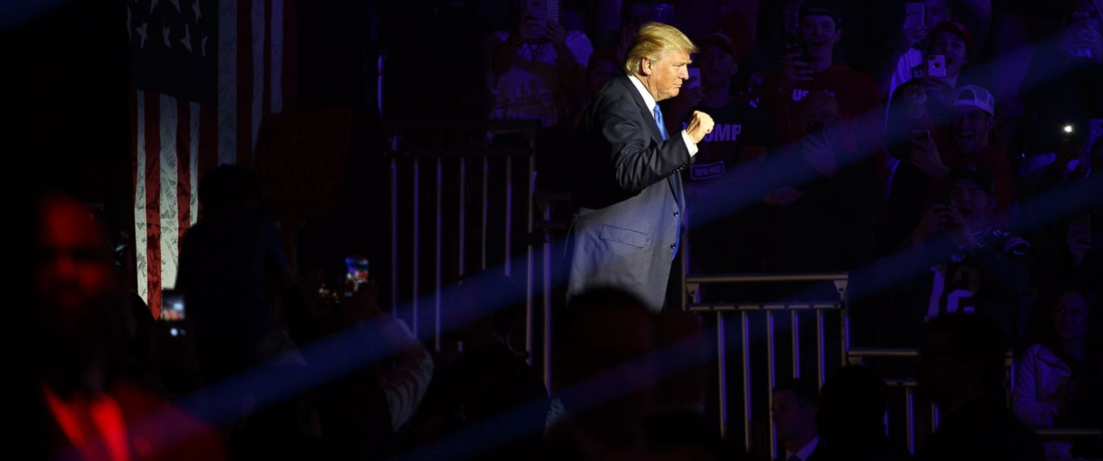 PHOTO: Donald Trump arrives for a campaign rally, Nov. 7, 2016, in Manchester, New Hampshire.