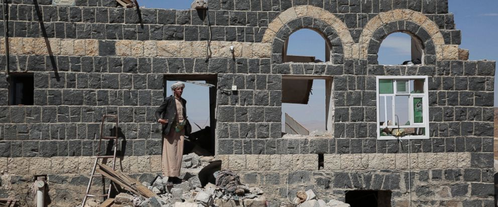 PHOTO: A man stands on the rubble of a house destroyed by a Saudi-led airstrike in the outskirts of Sanaa, Yemen, Feb. 16, 2017.