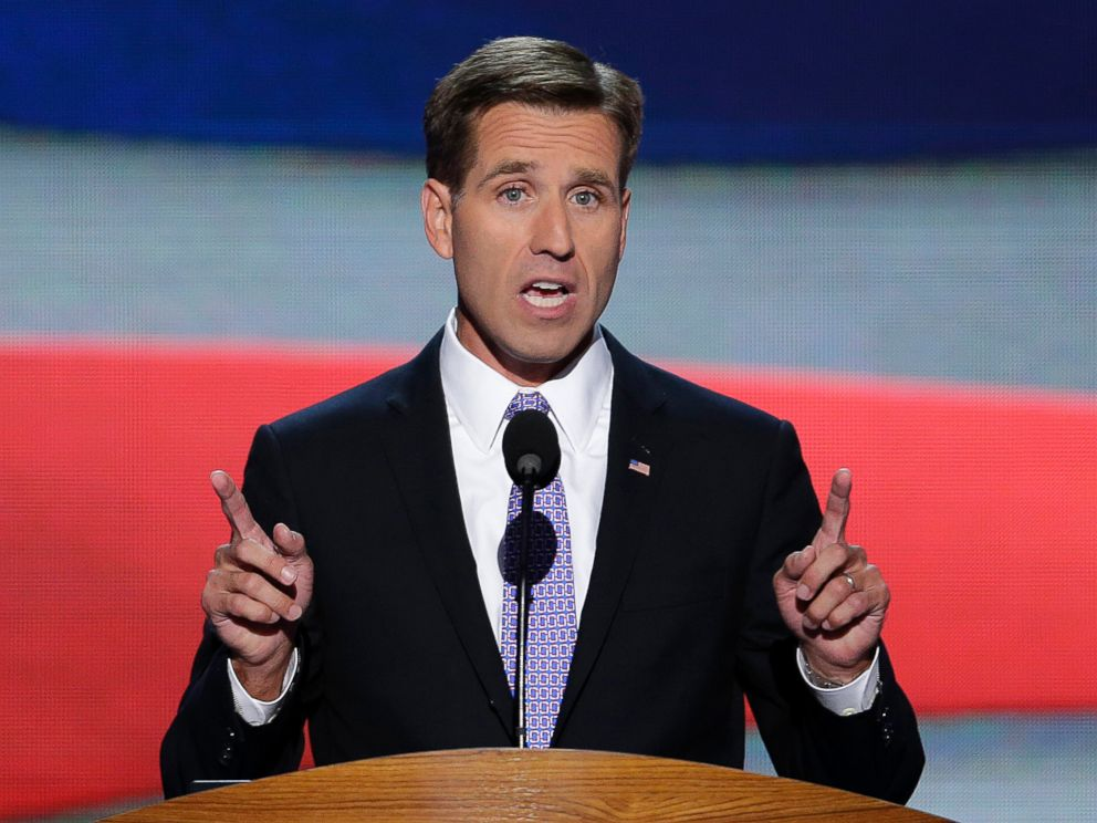 PHOTO: Beau Biden, son of Vice President Joe Biden, nominates his father for the Office of Vice Presdient of the United States during the Democratic National Convention in Charlotte, N.C., September 6, 2012.