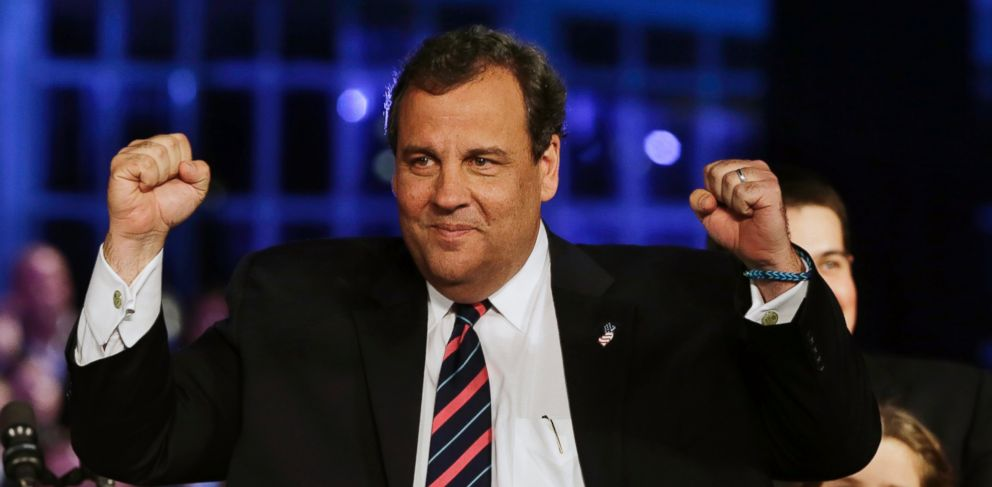 PHOTO: Republican New Jersey Gov. Chris Christie celebrates his election victory in Asbury Park, N.J., Tuesday, Nov. 5, 2013, after defeating Democratic challenger Barbara Buono.