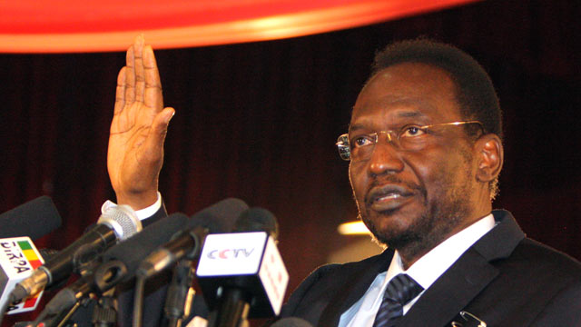 PHOTO: Parliamentary head Dioncounda Traore is sworn in as interim president at a ceremony in Bamako, Mali, April 12, 2012.