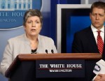 PHOTO: Homeland Security Secretary Janet Napolitano, accompanied by White House press secretary Jay Carney, briefs reporters on the sequester, Feb. 25, 2013, at the White House in Washington.