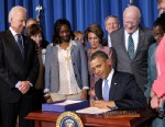 PHOTO: President Barack Obama signs the Violence Against Women Act on March 7, 2013, at the Interior Department in Washington, D.C. with, from left, Vice President Joe Biden, Sen. Susan Collins, Tysheena Rhames, a trafficking survivor and advocate, House