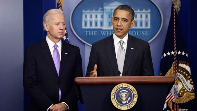 PHOTO: President Barack Obama stands with Vice President Joe Biden as he makes a statement on Dec. 19, 2012, in the Brady Press Briefing Room at the White House in Washington, about policies he will pursue following the massacre at Sandy Hook Elementary S