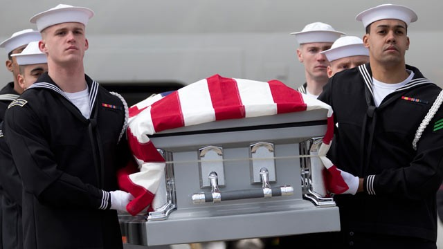 PHOTO: Members of the U.S. Navy Ceremonial Guard carry the casket containing the remains of one of two unknown sailors who were lost when the USS Monitor, the nation's first ironclad warship, sank Dec. 31, 1862, in a storm off Cape Hatteras, N.C., from a 