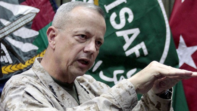 PHOTO: This July 22, 2012, file photo shows U.S. Gen. John Allen, top commander of the NATO-led International Security Assistance Forces (ISAF) and U.S. forces in Afghanistan, during an interview with The Associated Press in Kabul, Afghanistan.