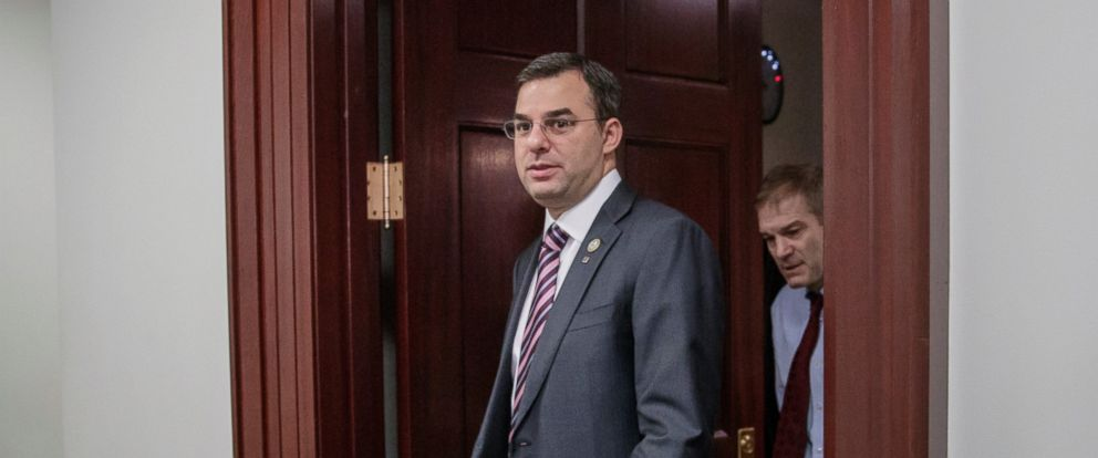 PHOTO: This March 28, 2017, file photo shows Rep. Justin Amash, R-Mich., followed by Rep. Jim Jordan, R-Ohio, leaving a closed-door strategy session with Speaker of the House Paul Ryan, R-Wis.