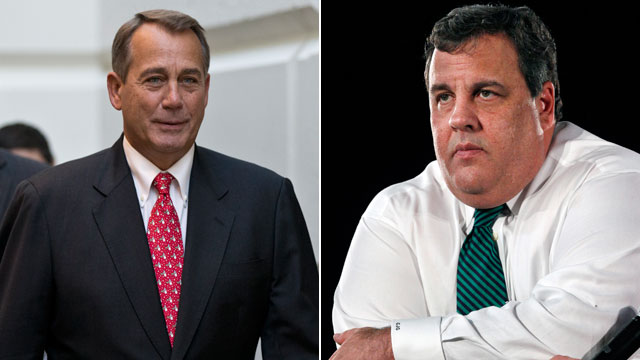 PHOTO: Speaker of the House John Boehner, left, arrives for a closed-door meeting with House Republicans as he negotiates to avert the fiscal cliff, at the Capitol in Washington on Dec. 18, 2012; New Jersey Gov. Chris Christie, right, listens to a questio