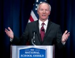 PHOTO: National School Shield Task Force Director, former Arkansas Rep. Asa Hutchinson gestures during a news conference at National Press Club in Washington, April 2, 2013, to discuss his groupss school-guns study.