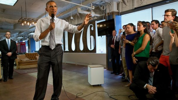 ap barack obama 1776 tech startup jc 140703 16x9 608 Obama Talks Up Rosy Jobs Numbers and Economic Patriotism