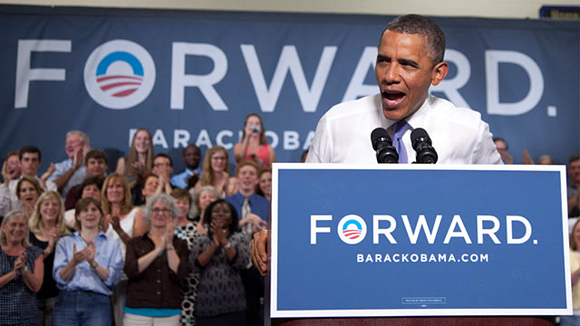PHOTO: President Obama in Durhmam, New Hampshire