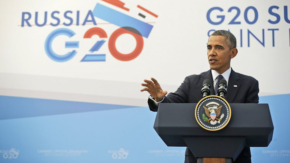 PHOTO: US President Barack Obama gestures during his news conference at the G-20 Summit in St. Petersburg, Russia, Sept. 6, 2013.
