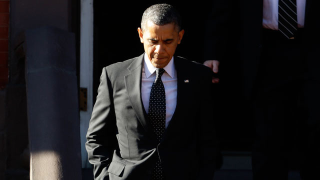 PHOTO: President Barack Obama walks out of Blair House in Washington, Dec. 13, 2012.