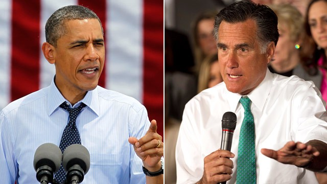 PHOTO:&nbsp;Barack Obama and Mitt Romney