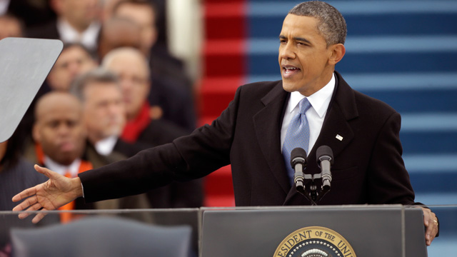 PHOTO: President Barack Obama speaks at his ceremonial swearing-in at the U.S. Capitol during the 57th Presid