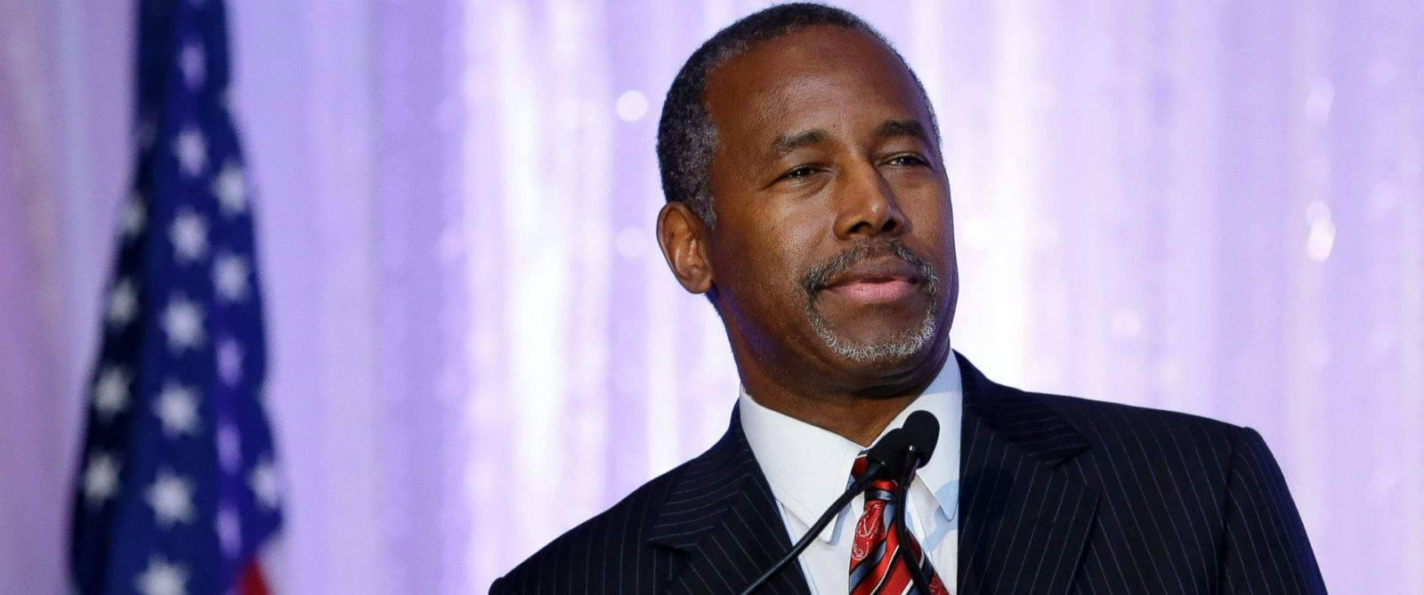 PHOTO: Republican presidential candidate Ben Carson speaks during the Black Republican Caucus of South Florida event benefiting the groups scholarship fund on Nov. 6, 2015, in Palm Beach Gardens, Fla.