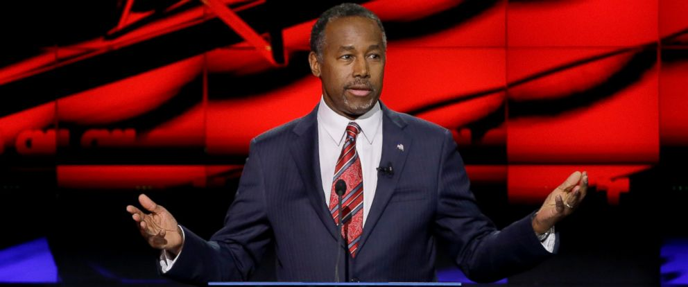 PHOTO: Ben Carson speaks during a Republican presidential primary debate at The University of Houston on Feb. 25, 2016, in Houston.