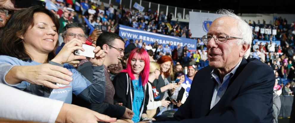 PHOTO: Democratic presidential candidate, Sen. Bernie Sanders, I-Vt, greets supporters after speaking during a campaign rally in Springfield, Mass., Saturday, Oct. 3, 2105.