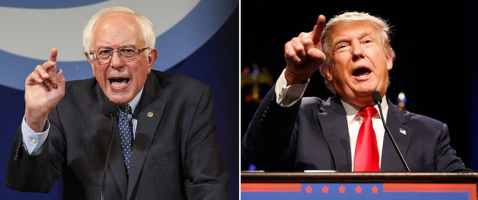 PHOTO: Bernie Sanders speaks in Manchester, N.H., Nov. 29, 2015 and Donald Trump speaks at a rally in Las Vegas, Dec. 14, 2015.