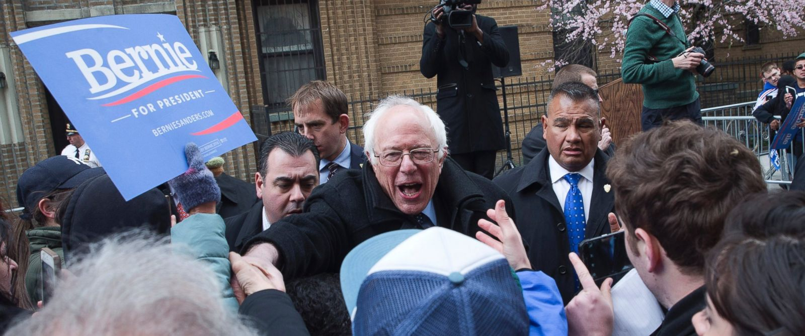 PHOTO: Presidential candidate, Sen. Bernie Sanders, greets supporters at a campaign rally outside his childhood home, April 8, 2016, in the Brooklyn borough of New York.
