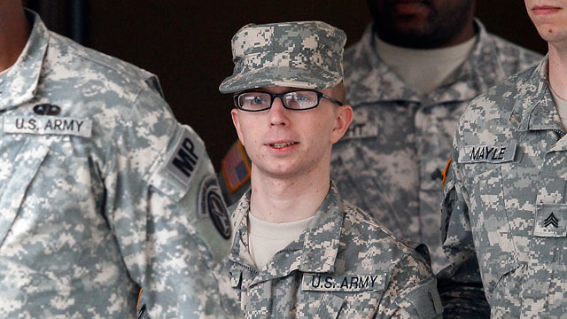 PHOTO: Army Pfc. Bradley Manning, center, is escorted out of a courthouse in Fort Meade, MD., Dec. 21, 2011, after a military hearing that will determine if he should face court-martial for his alleged role in the WikiLeaks classified leaks case.