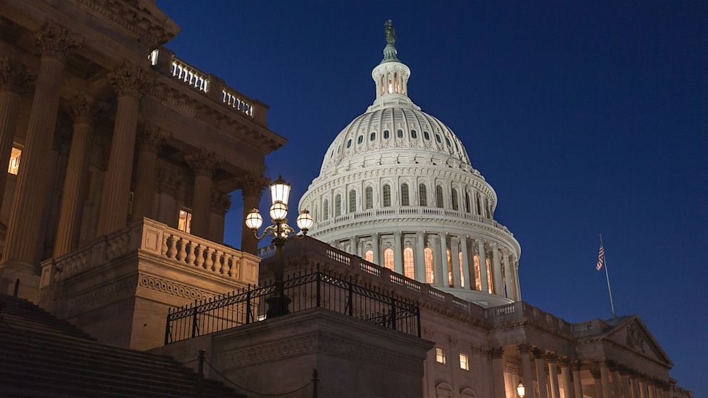PHOTO: In a rare weekend session at the Capitol, the House of Representatives works into the night, Sept. 28, 2013, in Washington, to pass a bill to fund the government.