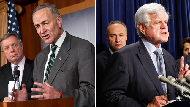 PHOTO: Charles Schumer, Dick Durbin and Edward Kennedy
