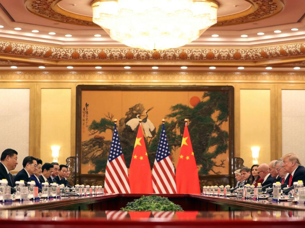 PHOTO: U.S. President Donald Trump, second right, and Chinese President Xi Jinping, left, attend a bilateral meeting at the Great Hall of the People in Beijing Thursday, Nov. 9, 2017.